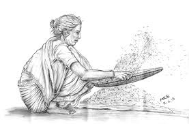 Image of a woman winnowing seeds.